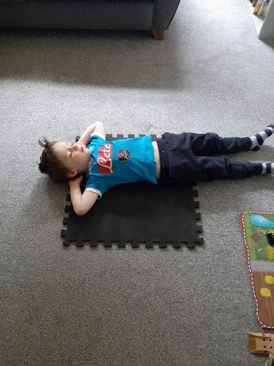 Hugo McCrory, four years old, enjoys classes in yoga